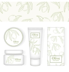 Cosmetic packing with the image of olive pattern vector