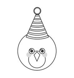 Cute bird with party hat vector