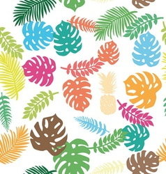 Background of tropical leaves and pineapple vector image