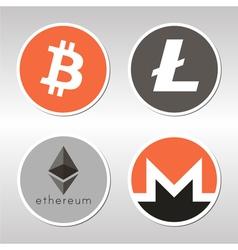 Bitcoin litecoin ethereum monero logo vector