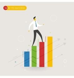 Businessman climbing graph career success vector image