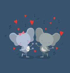 Color background with couple of elephants dancing vector