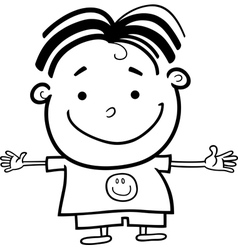 Cute Little Happy Boy for Coloring vector image vector image