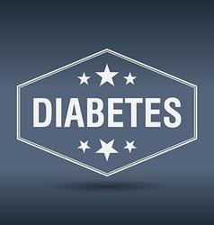 Diabetes hexagonal white vintage retro style label vector