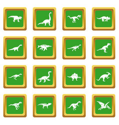 Dinosaur icons set green vector