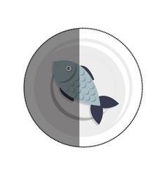 dish with fish sea food menu vector image