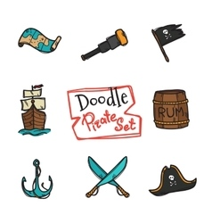 doodle pirate icons set Hand drawn vector image vector image