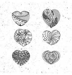 Doodle valentines day hearts collection vector