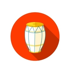 Drum flat icon with long shadow vector