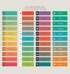 Flat web button set vector image vector image