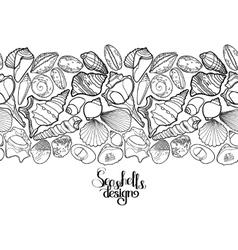 Graphic seashells border vector