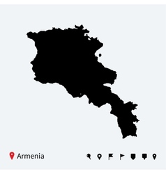 High detailed map of armenia with navigation pins vector