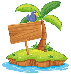 Island scene with bird on wooden sign vector image vector image