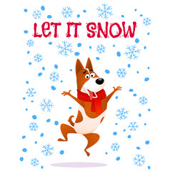 Let it snow cartoon jumping dog in red scarf vector