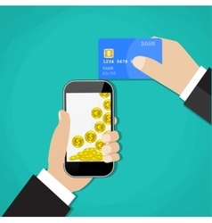 Man hands holding mobile phone and credit card vector image