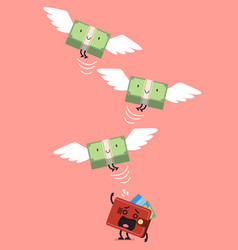 Money bill characters flying out of pitying vector