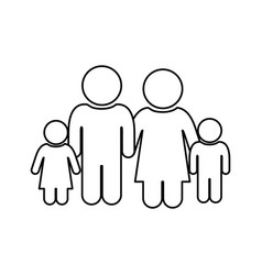 monochrome contour of pictogram with family group vector image vector image
