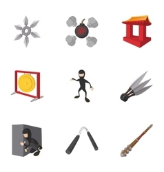 Ninja icons set cartoon style vector