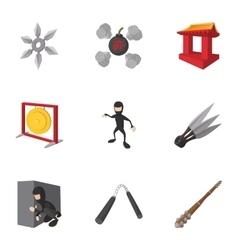 Ninja icons set cartoon style vector image vector image