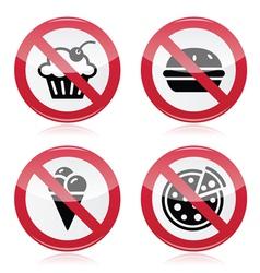 No fast food no sweets warning red sign vector image