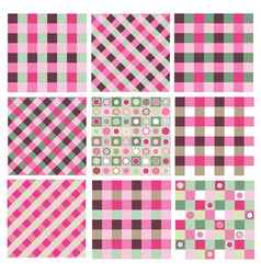 Pink green patterns vector
