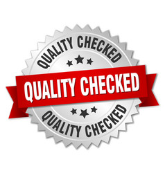 Quality checked 3d silver badge with red ribbon vector