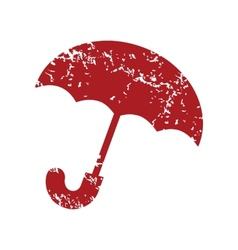 Red grunge umbrella logo vector image
