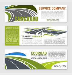 road and transportation services banner set vector image vector image
