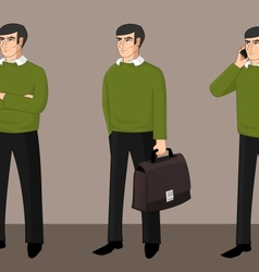 Set of businessman activity vector