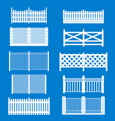 silhouette white fence icon set vector image vector image