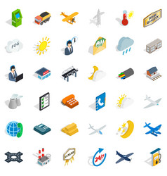 Station icons set isometric style vector