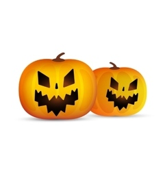 Two helloween pumpkins head isolated on vector