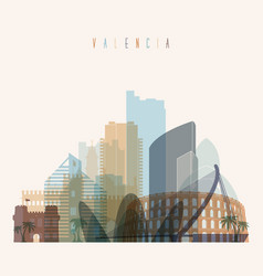 Valencia skyline detailed silhouette vector
