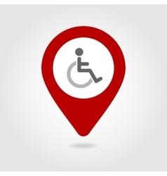 Wheelchair map pin icon vector