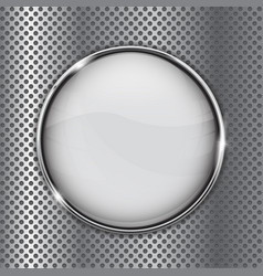 White glass button on metal perforated background vector