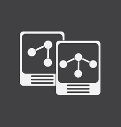 White icon on black background atoms and molecule vector