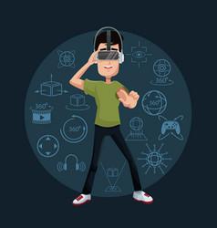 Young man playing virtual reality wearing goggle vector