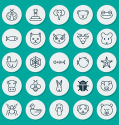 Zoo icons set collection of serpent beetle vector