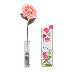 Flower decorative glass vase interior decoration vector