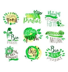Organic farm food promo signs colorful set vector
