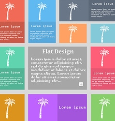 Palm icon sign set of multicolored buttons with vector