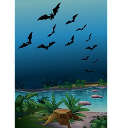 Scene with bats flying over the pond vector