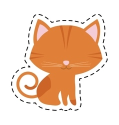 Cat feline curious small cut line vector