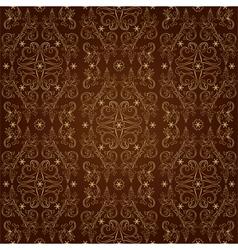 Floral vintage seamless pattern on brown vector image