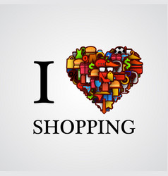 I love shopping font type with heart sign vector