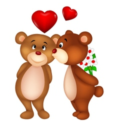 Bear couple cartoon kissing vector image