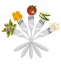 Isolated forks with vegetables vector