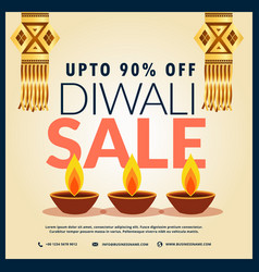 diwali sale discount banner with three diya and vector image