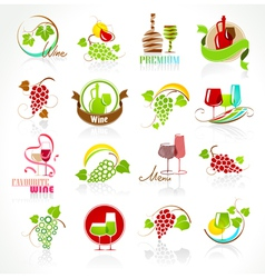 Collection of wine icons vector image