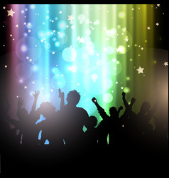 party people on bokeh lights background vector image